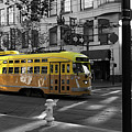San Francisco Vintage Streetcar On Market Street 5d19798 Black And White And Yellow Panoramic by Wingsdomain Art and Photography