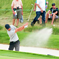 Sand And Golf Ball Flying by Dan Friend