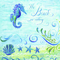 Sand 'n Sea - Seahorse Scallop Starfish N Scrollwork Acrylic Watercolor by Audrey Jeanne Roberts