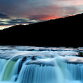 Sandstone Falls At Sunset In West Virginia by Brendan Reals