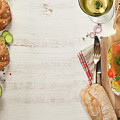 Sandwich With Salmon, Cucumber, Cream Cheese, Dill And Tomatoe by Natalia Klenova