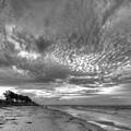 Sanibel Island Sunrise In Black And White by Jeff Breiman