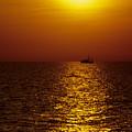 Sanibel Shrimp Boat At Sunset by Steve Somerville