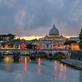 Sant Angelo Bridge At Dusk by Jebulon