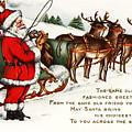 Santa And His Reindeer Greetings Merry Christmas by R Muirhead Art