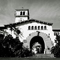 Santa Barbara Courthouse Black And White-by Linda Woods by Linda Woods
