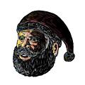 Santa Claus Three-quarter View Scratchboard by Aloysius Patrimonio