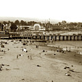 Santa Cruz Beach With Ideal Fish Restaurant 1930's by California Views Archives Mr Pat Hathaway Archives