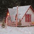 Santa House With Snow Winona Minnesota Digital Painting by Kari Yearous
