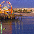 Santa Monica Pacific Park Pier And Lowes Hotel by David Zanzinger