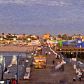 Santa Monica Pacific Park Pier Skyline Panoramic by David Zanzinger