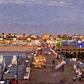Santa Monica Pacific Park Pier Skyline Panoramic by David Zanzinger