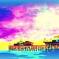 Santa Monica Pier In Blue by Irving Starr