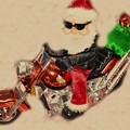 Santa On Motorcycle  by Miriam Marrero