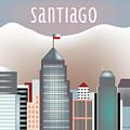 Santiago Chile Horizontal Skyline by Karen Young