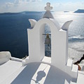 Santorini Bell Tower Casts Shadow by Four Stock