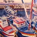 Santorini Boats Study by Joyce Kanyuk