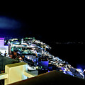Santorini Caldera View At Night With Fireworks - Santorini, Greece by Global Light Photography - Nicole Leffer