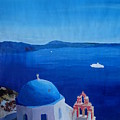 Santorini Greece View From Oia To Caldera by M Bleichner