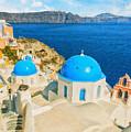 Santorini Oia Church Caldera View Digital Painting by Antony McAulay