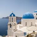 Santorini Oia Churches Stitched Panorama by Antony McAulay