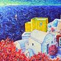 Santorini Oia Colors Modern Impressionist Impasto Palette Knife Oil Painting By Ana Maria Edulescu by Ana Maria Edulescu