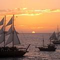 Santorini Sunset Sails by Karen Norton