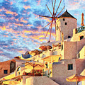 Santorini Windmill At Oia Digital Painting by Antony McAulay