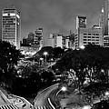 Sao Paulo Downtown At Night In Black And White - Correio Square by Carlos Alkmin