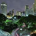 Sao Paulo Downtown At Night - Praca Do Correio by Carlos Alkmin