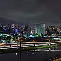 Sao Paulo Skyline - Ponte Estaiada Octavio Frias De Oliveira Wit by Carlos Alkmin