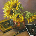 Sargent And Sunflowers by Lisa Spencer