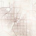 Saskatoon Street Map Colorful Copper Modern Minimalist by Jurq Studio