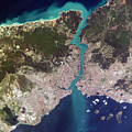 Satellite View Of Istanbul And The Bosphorus Strait by Artistic Panda