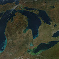 Satellite View Of The Great Lakes, Usa by Stocktrek Images