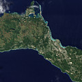 Satellite View Of The Island Of Guam by Stocktrek Images
