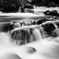 Sathodi Falls In Black And White by Vishwanath Bhat