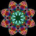 Satin Rainbow Fractal Flower II by Ruth Moratz