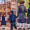 Satmar Rabbis Summer Stroll St Viateur Street Scene Canadian Artist C Spandau Jewish Neighborhoods   by Carole Spandau