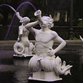 Satyrs Spout Purple Water At Forsyth Fountain by Bradford Martin