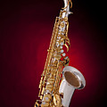 Saxophone On Red Spotlight by M K  Miller