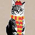 Scarf Weather Cat- Art By Linda Woods by Linda Woods