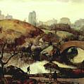 Scene In Central Park by Leon Kroll