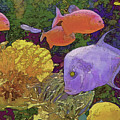 Scenic Waters With Blue Fish by Lynda Lehmann
