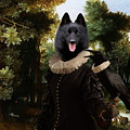 Schipperke Art Canvas Print - Forest Landscape With A Hunter And Noble Lady by Sandra Sij