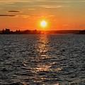 Schoodic Sunset With Island Lighthouse by Scott  Bricker