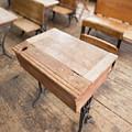 School Desks In A One Room School Building by Edward Fielding