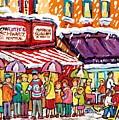 Schwartz Montreal Winterscene Painting For Sale Snowy City Scene C Spandau Hockey Storefront Quebec  by Carole Spandau