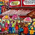 Schwartz's Deli Rainy Day Line-up Umbrella Paintings Montreal Memories April Showers Carole Spandau  by Carole Spandau