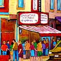 Schwartzs Hebrew Deli Montreal Streetscene by Carole Spandau